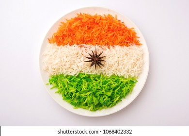 Tricolor Tiranga Rice for indian Republic and Independence day, served in a ceramic plate, selective focus