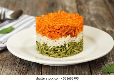 Tricolor Tiranga Rice for indian Republic and Independence day food, shallow depth of field