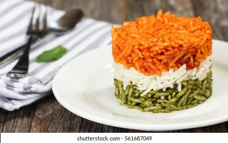 Tricolor Tiranga Rice for indian Republic and Independence day, shallow depth of field