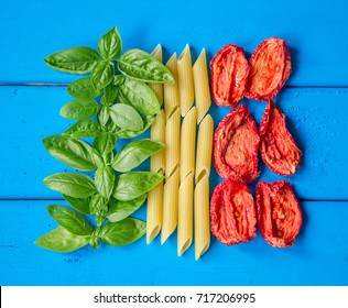 Tricolore, italian food. Tricolore, italian food. italian flag made from basil, penne and dried tomatos