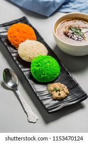 tricolored idli with sambhar and chutney