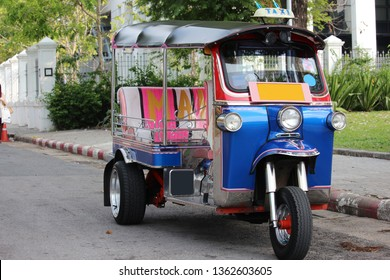 Tricycle car Thai style, the symbol of Thailand. Someone call tuktuk