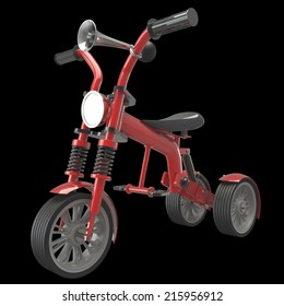 Tricycle. Concept. isolated on black background 3d illustration. high resolution
