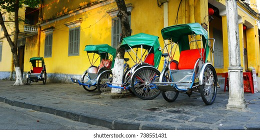 tricycle in the streets of hoi an Vietnam