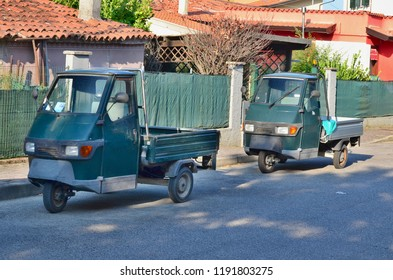 Tricycle is a very original utility vehicle, Caorle, Italy