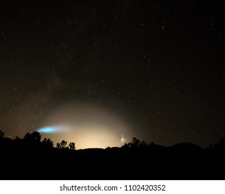 Trident II (D5) Missle launched from the USS Kentucky submarine. Observed from Desert National Wildlife Range.