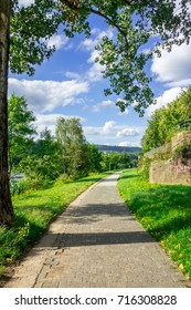 TRIER, GERMANY - 4TH Aug 17: Local footpath that runs along the Moselle, a tributary of the River Rhine.