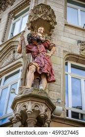 TRIER, GERMANY - APRIL 16: Sculpture in the corner of building near Porta Nigra on April 16, 2016 in Trier.