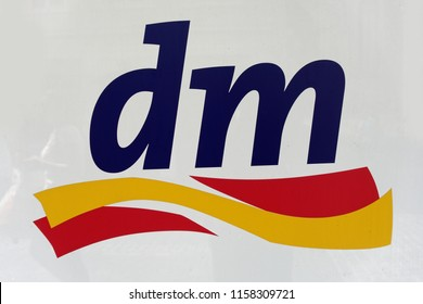 Trier, Germany - August 17, 2018: dm-drogerie markt is a chain of retail stores headquartered in Karlsruhe, Germany, that sells cosmetics, health care items, household products and health food.