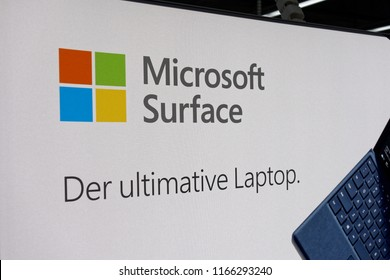 Trier, Germany - August 28, 2018: Microsoft Corporation is an American multinational technology company with headquarters in Redmond, Washington. Microsoft Surface.