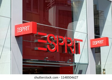 Trier, Germany - August 3, 2018: Esprit Holdings Limited is a publicly owned manufacturer of clothing, footwear, accessories, jewellery and housewares under the Esprit label.