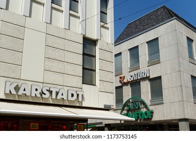 Trier, Germany - August 3, 2018: Karstadt Warenhaus GmbH is a German department store chain whose headquarters are in Essen. Karstadt and Galeria Kaufhof fusion.