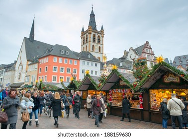 TRIER, GERMANY - DECEMBER 18:  Market square on Christmas eve in Trier, Germany on Dec 18, 2013