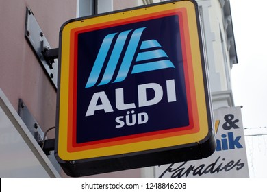 Trier, Germany - December 4, 2018: Aldi (stylised as ALDI) is the common brand of two German family owned discount supermarket chains with over 10,000 stores in 20 countries.