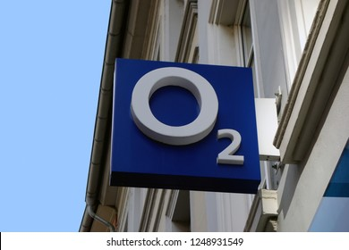Trier, Germany - December 4, 2018: Telefonica is a provider of broadband, landline and mobile telecommunications in Germany. The company trades as O2.
