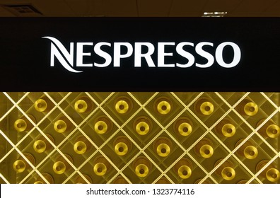 Trier, Germany - February 26, 2019: Nespresso is an operating unit of the Nestlé Group, based in Lausanne, Switzerland. Nespresso machines brew espresso and coffee.