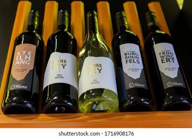 Trier, Germany - June 11, 2012: Bottles of rheine riesling wine.