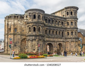Trier, Germany - June 21st 2016 - located on the banks of Moselle river, Trier is a historical city. Here in particular its well-preserved Roman and medieval Old Town
