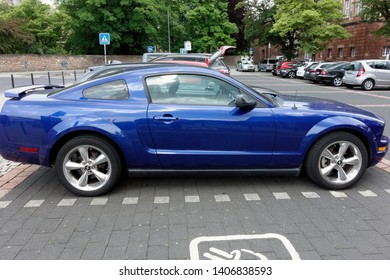 Trier, Germany - May 24, 2019: The Ford Mustang is an American car manufactured by Ford. Sixth generation Ford Mustang GT.