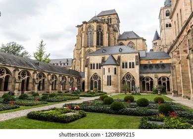 TRIER, GERMANY - Sep 28, 2018: Gothic cloister of the Cathedral of Saint Peter and the Church of Our Lady, a World Heritage Site since 1986