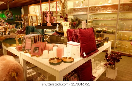 Trier, Germany - September 12, 2018: Modern shopping center. Souvenir store. Giftware, home accessories, dishes and souvenirs.