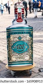 TRIER, GERMANY - SEPTEMBER 13, 2019: 4711 Store Logo Big advertising Bottle. 4711 brand. TRIER perfume shop