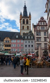 TRIER, GERMANY- SEPTEMBER 29: People at Market square in Trier, Germany, on September 29, 2012. Trier is the oldest city in Germany, founded in 16 BC.