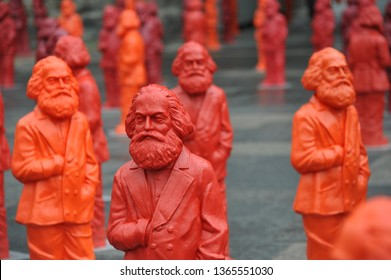 Trier, Rhineland-Palatinate / Germany - May 12, 2013: Sculptures of Karl Marx by the artist Ottmar Hörl in Trier, Germany - Marx was a German philosopher, economist and political theorist