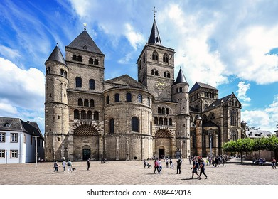 TRIER,GERMANY-AUG 09:Cathedral of Trier   on August 09,2017 in Trier,Germany.Saint Peter in Trier, or Cathedral of Trier, is a Roman Catholic church in Trier, Rhineland-Palatinate, Germany.