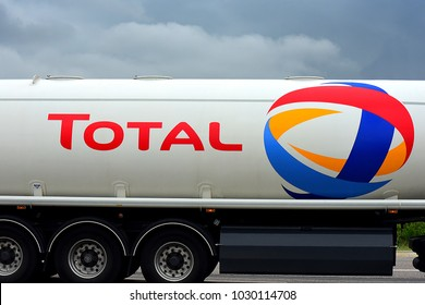 "TRIER,GERMANY-AUGUST 08,2017: TOTAL truck on the route.Total S.A. is a French multinational integrated oil and gas company and one of the seven ""Supermajor"" oil companies in the world."