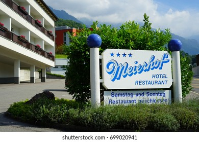 TRIESEN, LIECHTENSTEIN -17 AUG 2017- View of the Meierhof Hotel located in Triesen in the Principality of Liechtenstein in the Rhine Valley next to Switzerland.