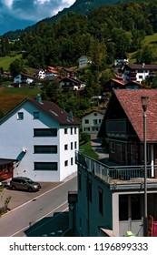 Triesenberg, Liechtenstein, 20th August 2018:- A view of Triesenberg in central Liechtenstein. Triesenberg is the largest municipality in Liechtenstein at 30 square kilometres.