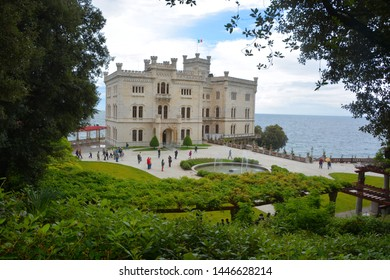 TRIESTE ITALY 05 17 2019: Miramare Castle is a 19th-century castle on the Gulf of Trieste near Trieste. It was built from 1856 to 1860 for Austrian Archduke Ferdinand Maximilian and his wife