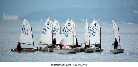 TRIESTE ITALY 05 19 2019: The Barcolana regatta, an important international sport event, Trieste Italy.
