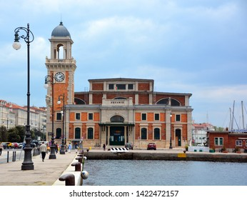 TRIESTE ITALY 05 19 2019: Marine Aquarium building at the waterfront. Trieste is the capital of the autonomous region Friuli-Venezia Giulia