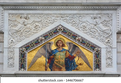 TRIESTE ITALY 05 19 2019: Fresco of the Saint Spyridon Church is a Serbian Orthodox community in Trieste was established in 1748 when Empress Maria Theresa allowed free practice of religion