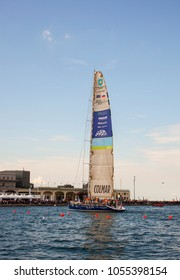 TRIESTE, ITALY - 06 OCTOBER 2017: Maxi Jena powered tempus fugit boat winner the second place of the 49° Barcolana regatta in Trieste sea on 06 October, 2017
