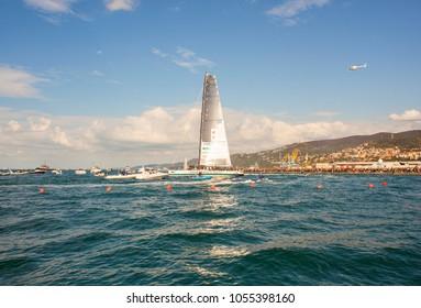 TRIESTE, ITALY - 06 OCTOBER 2017: Spirit of Portopiccolo boat winner of the 49° Barcolana regatta in Trieste sea on 06 October, 2017