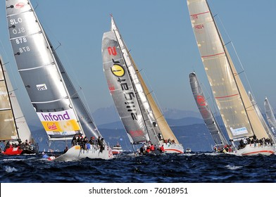 TRIESTE, ITALY - 10 OCTOBER 2010: Boats engaged in Barcolana regatta in the northern part of the Adriatic Sea. About 2000 boats and thousands of sailors from all over the world took part in the race.