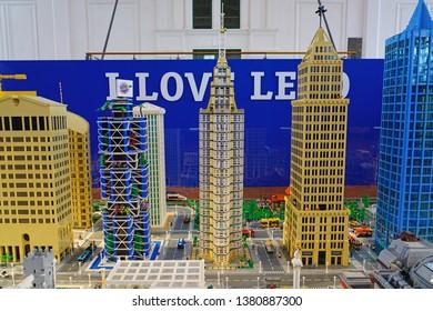 TRIESTE, ITALY -12 APR 2019- View of the I Love Lego exhibit in the landmark Salone Degli Incanti in Trieste in the autonomous region of Friuli-Venezia Giulia in Italy.