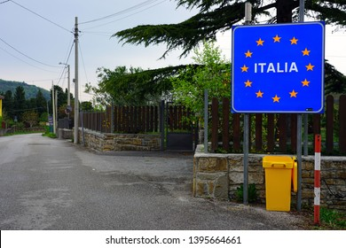 TRIESTE, ITALY -12 APR 2019- View of the sign for entering Italy at the border between Slovenia and the autonomous region of Friuli-Venezia Giulia in Italy.