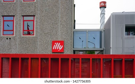 TRIESTE, ITALY -12 APR 2019- View of the Illy Caffe plant in Trieste in the autonomous region of Friuli-Venezia Giulia in Italy. It is open for visits.