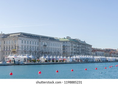 Trieste, Italy (5th October 2018) - The banks of Trieste set up for the incoming event of the Barcolana