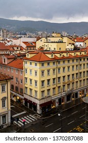 Trieste Italy April 12 2019: Red roof tops of the city in rain.