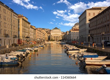 TRIESTE - ITALY, AUGUST 12:  neo-classical Church of St. Antonio Thaumaturgo over The Grand Canal.