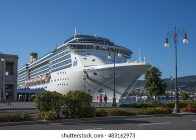 TRIESTE, ITALY - AUGUST 13, 2016: A cruise ship docked in the port city