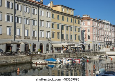 TRIESTE, ITALY - AUGUST 13, 2016: Channel View Ponterosso , buildings and boats