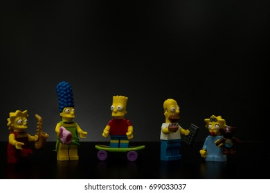 Trieste, Italy - August 19th 2017:family simpson lego. Lego is a popular line of construction toys manufactured by the Lego Group.