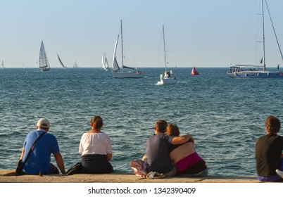 Trieste, Italy, Europe - 10/13/2018 - Barcolana race, 50th edition: People is watching the competition.
