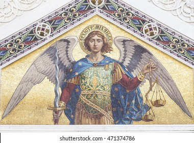 TRIESTE, ITALY - July 22: Mosaic of Saint Michael on the facade of  the Serbian Orthodox Church in Trieste on July 22. 2015 in Trieste, Italy.